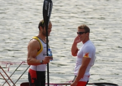 RENE POULSEN (DEN ) and MAX HOFF (GER ) after final race in 1000m. Two friends, rivals for the K1 1000m distance and users of RIO MODELS.